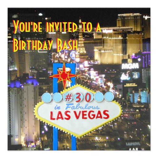Las Vegas Party 30th Birthday Custom Announcements