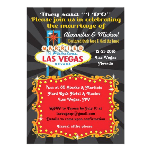 Personalized Las Vegas Wedding Invitations