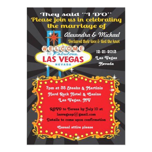 "Las Vegas Wedding Invitation Wording: Las Vegas Post Wedding Reception Invitations 5"" X 7"