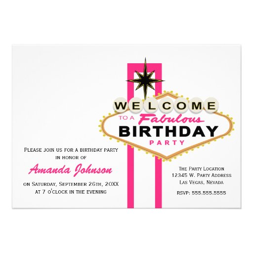 Personalized Las Vegas Party Invitations