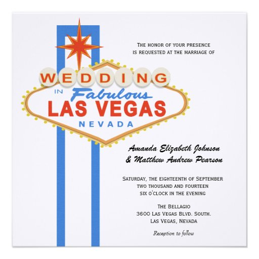 "Las Vegas Sign Destination Wedding Invitation 5.25"" Square"