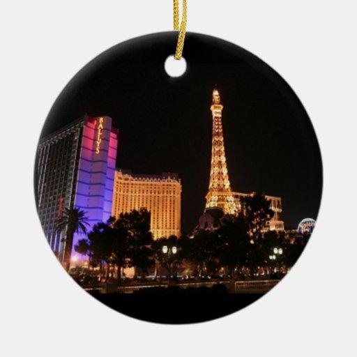 Las Vegas Skyline Double-Sided Ceramic Round Christmas ...