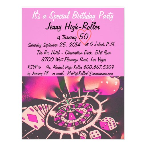 Las Vegas Style Birthday Party 4.25x5.5 Paper Invitation