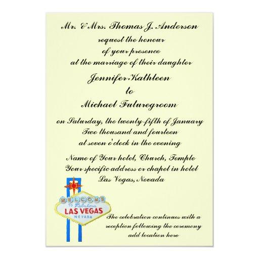 Las Vegas Wedding Invitation Wording: Las Vegas Wedding Formal Wording Pale Yellow Card
