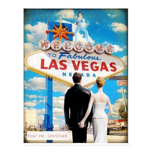 Las Vegas Wedding Invitation Wording: Las Vegas Wedding Invitation Postcard