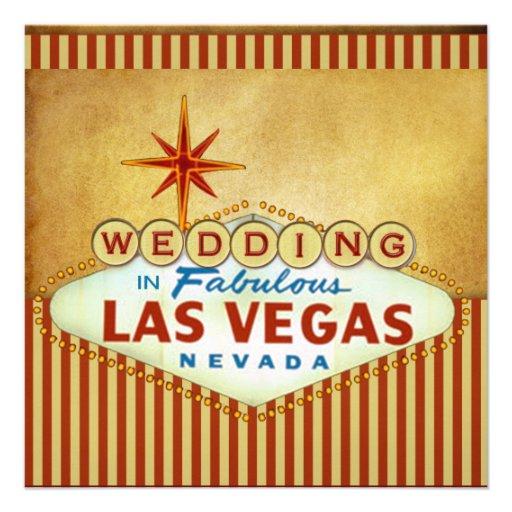"Las Vegas Wedding Invitation Wording: Las Vegas Wedding Invitation Template 5.25"" Square"