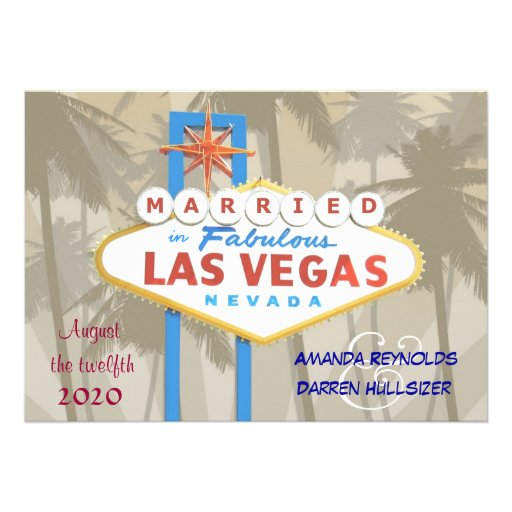 """Las Vegas Wedding Invitation Wording: Las Vegas Wedding Invitations 5"""" X 7"""" Invitation Card"""