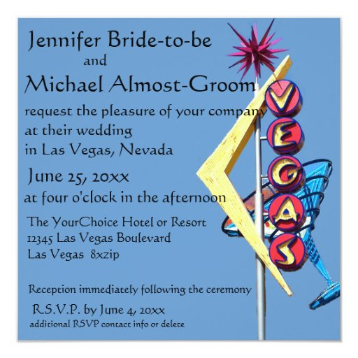 Las Vegas Wedding Invitation Wording: Las Vegas Wedding Invite Vintage Neon Sign