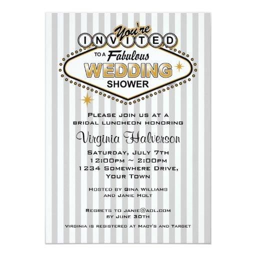 Las Vegas Wedding Invitation Wording: Las Vegas Wedding Shower Invitation