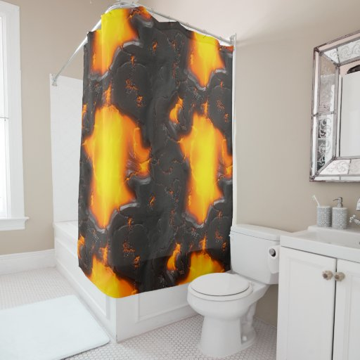 Lava Flow Bright Yellow & Black Orange Volcanic Shower