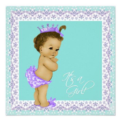 Vintage Baby Shower Invitations Girl: Lavender And Teal Blue Vintage Baby Girl Shower 5.25x5.25