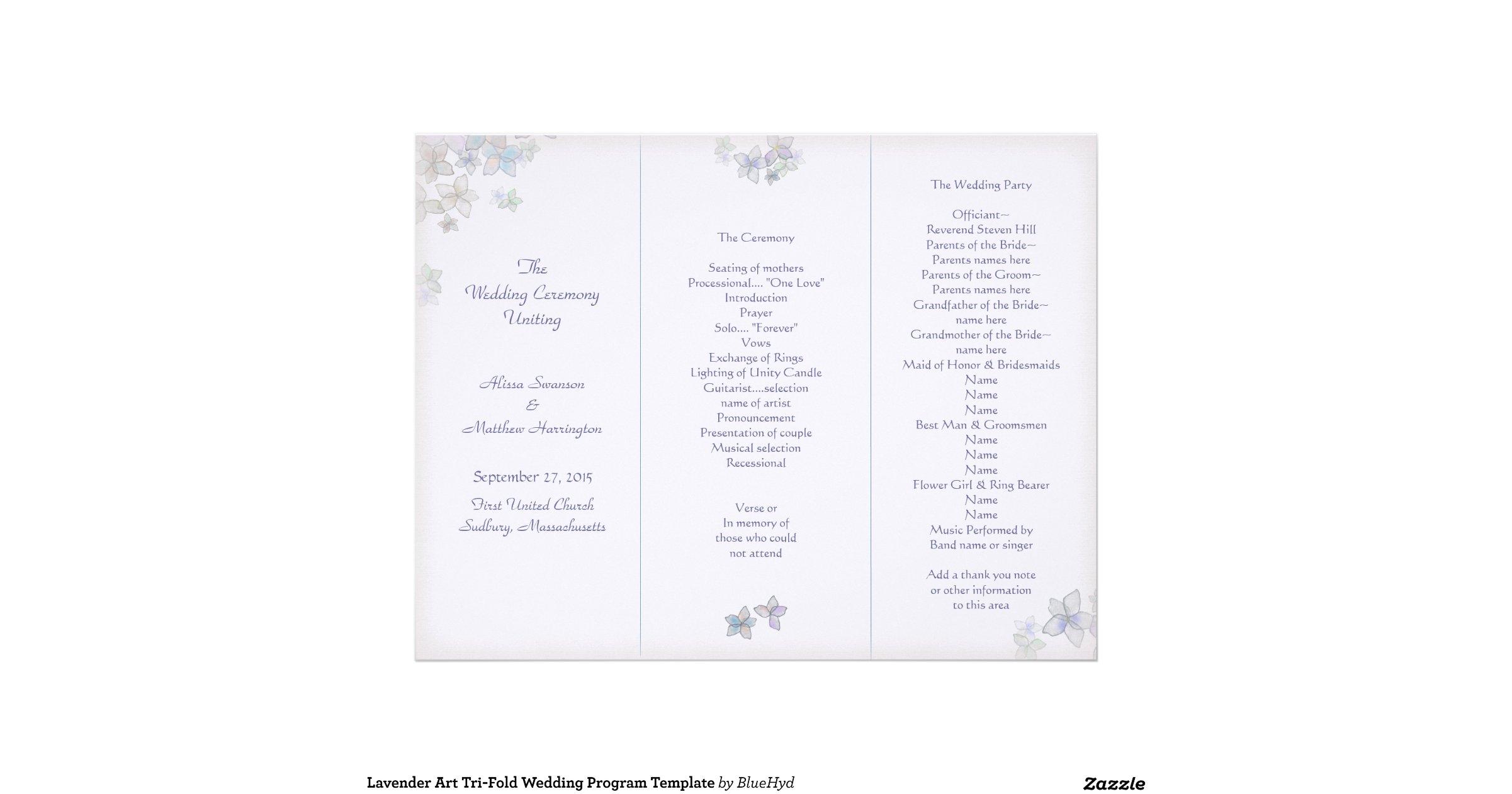 tri fold wedding programs template