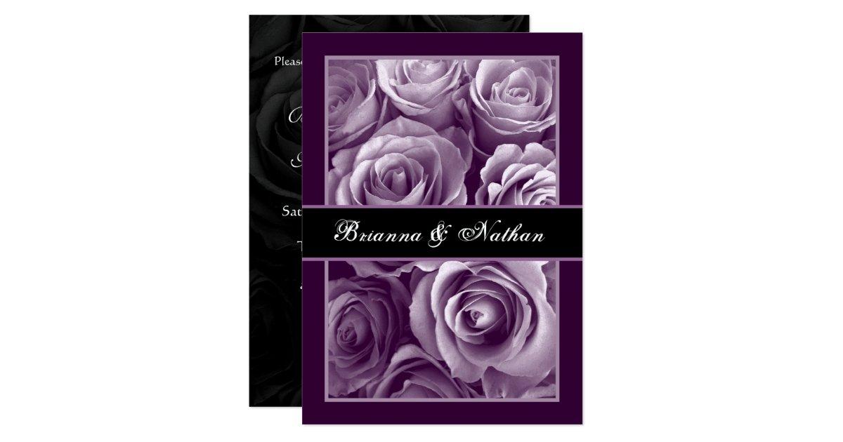 Purple Rose Wedding Invitations: LAVENDER PURPLE Rose Bouquet Wedding Invitation