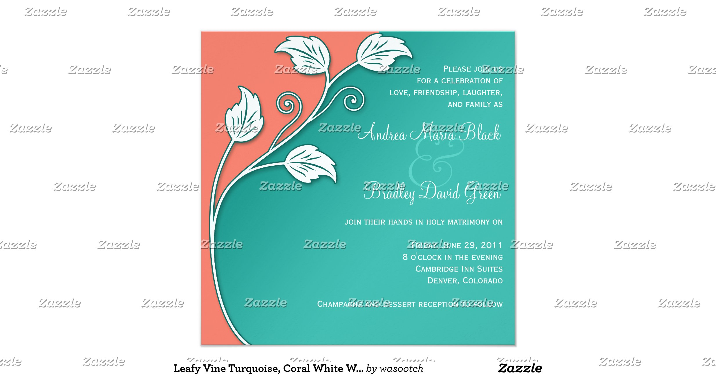Turquoise And Coral Wedding Invitations: Leafy_vine_turquoise_coral_white_wedding_invitation