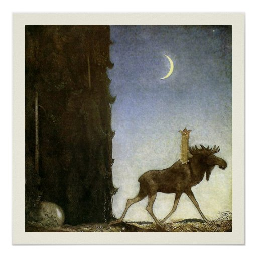 Coca Cola Gifts >> Leap the Elk and Princess Tuvstarr by John Bauer Poster ...