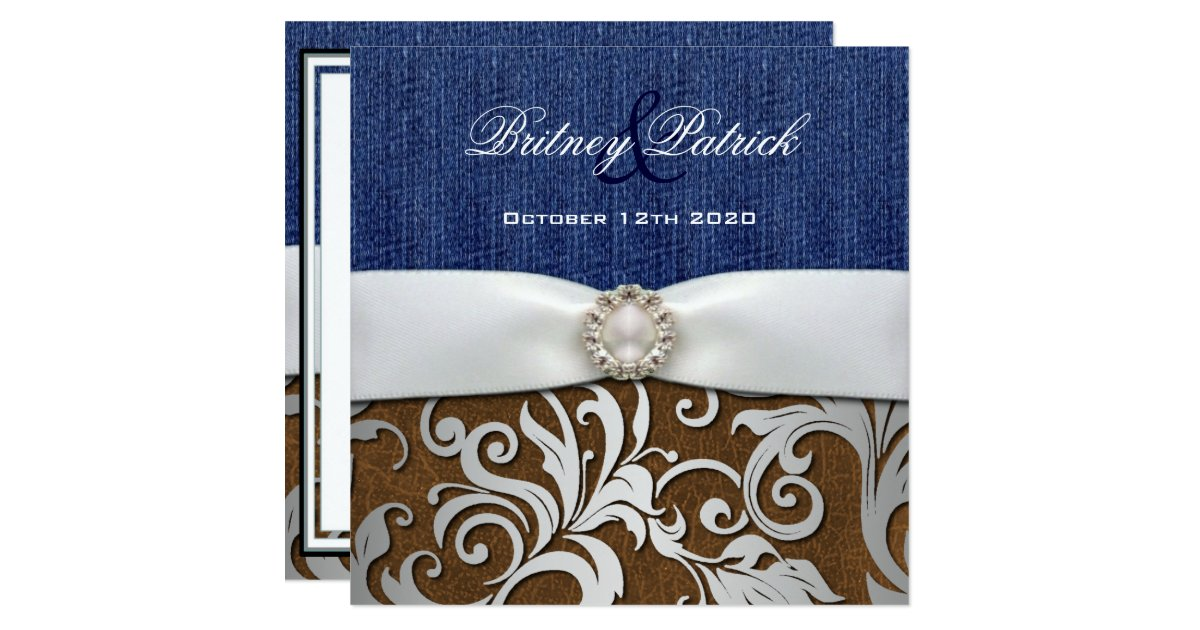 Denim Wedding Invitations: Leather & Denim Damask Western Wedding Invitations