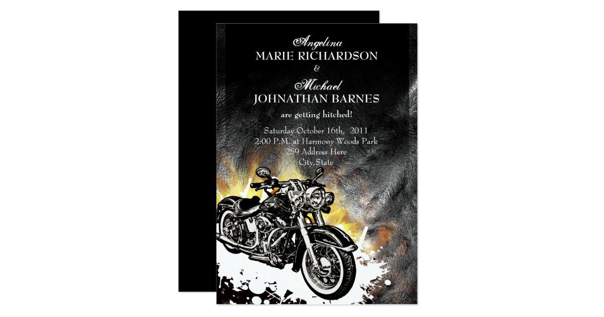 Biker Wedding Invitations: Leather & Flames Offbeat Biker Wedding Invitation