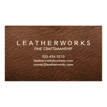 Leather-Look Dark Brown Masculine Simple Business Card Template