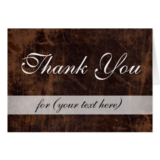 Executive College Stationery Note Cards: LeatherLook Brown/White Executive Thank You Custom