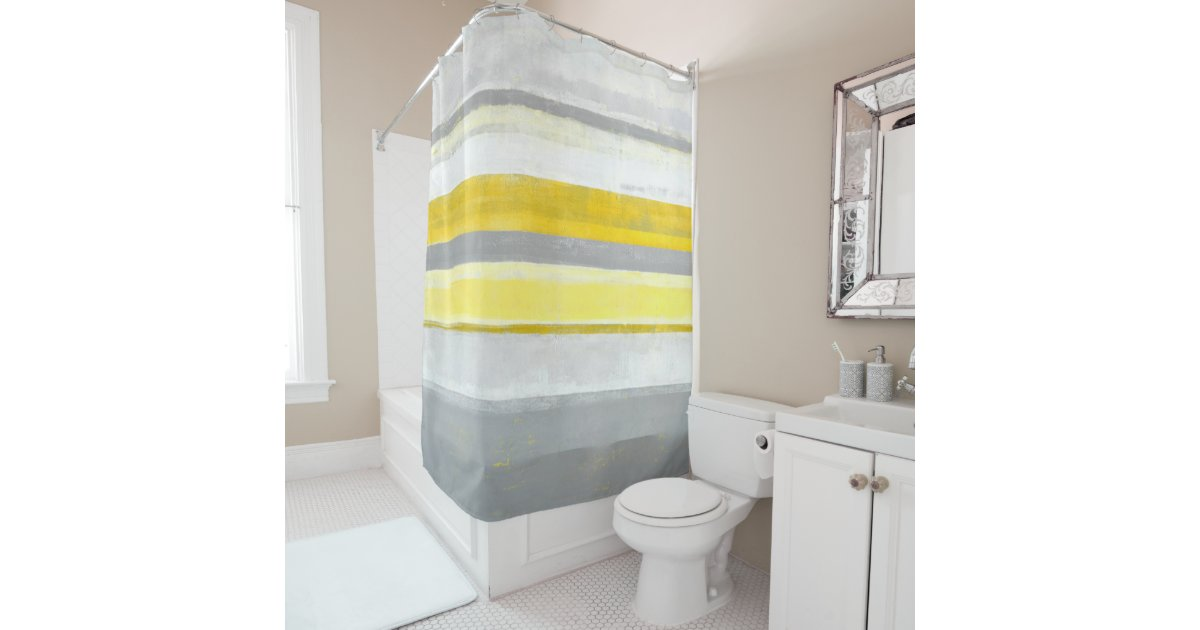 'Lemon' Grey And Yellow Abstract Art Shower Curtain