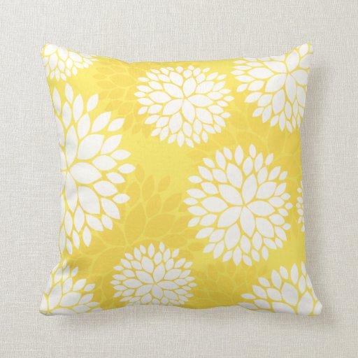 Lemon Yellow Floral Pattern Pillow Zazzle