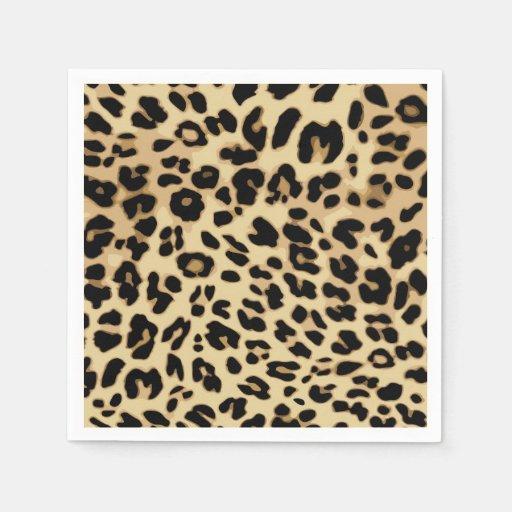 Black And Gold Beverage Napkins: Leopard Pattern Animal Print Black/Gold Standard Cocktail