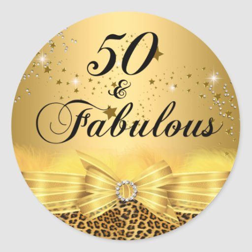 50 And Fabulous Text: Leopard Print Bow 50 & Fabulous Birthday Sticker