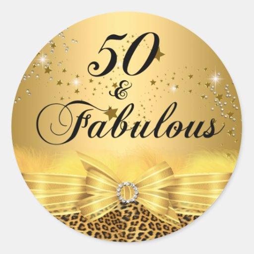 Fab 50 People: Leopard Print Bow 50 & Fabulous Birthday Sticker