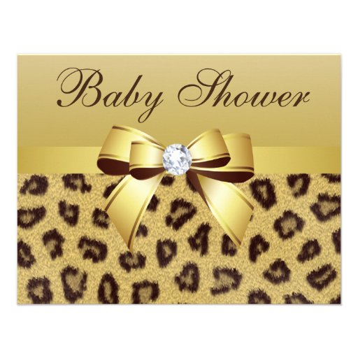 Leopard Print Baby Shower Supplies: Leopard Print, Bow & Diamond Baby Shower Personalized