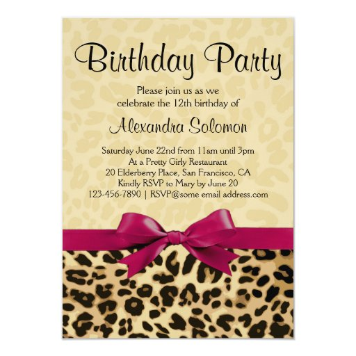 Pink Zebra Print Girls 1st Birthday Invitation: Leopard Print Fuchsia Pink Bow Girl Birthday Party