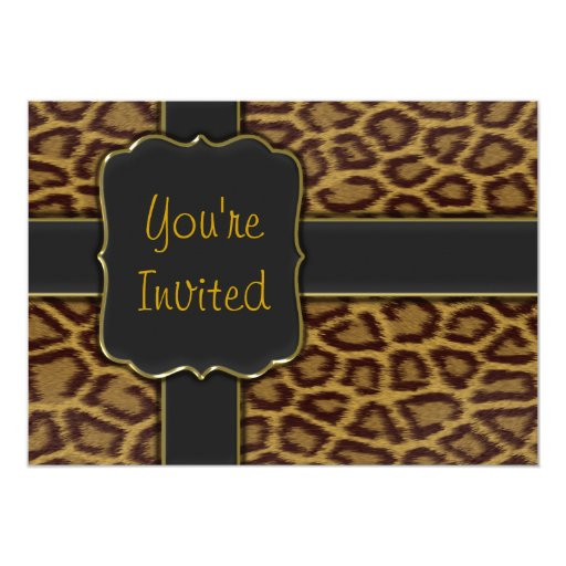 Leopard print party invitation template zazzle for Leopard print invitations templates