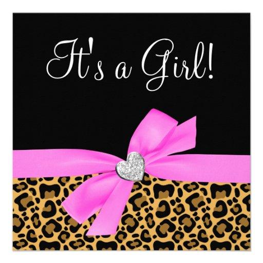 Leopard Print Baby Shower Supplies: Leopard Print Pink Bow Diamond Girl Baby Shower