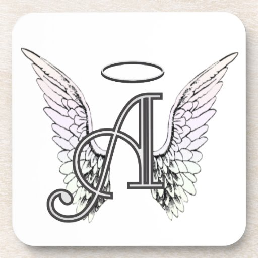 Letter A Initial Monogram with Angel Wings & Halo Coaster ...