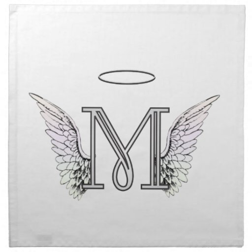 Letter M Initial Monogram with Angel Wings & Halo Napkin ...