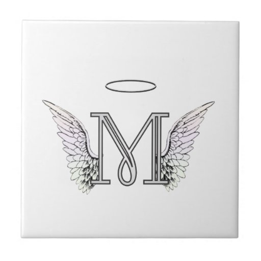 Letter M Initial Monogram with Angel Wings & Halo Tile ...