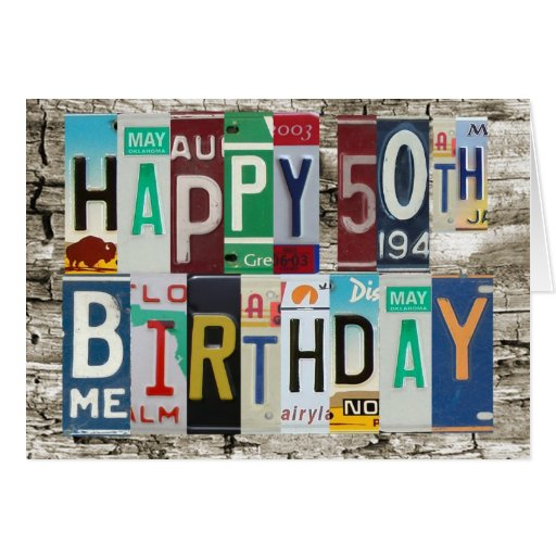 License Plates Happy 50th Birthday Card