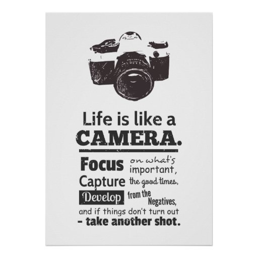 Dslr Camera Funny Quotes: Life Is Like A Camera Quote, Black Grunge Poster