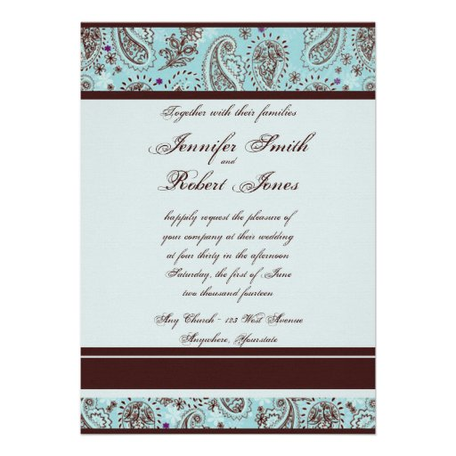 "Light Blue And Brown Paisley Wedding Invitation 5"" X 7"