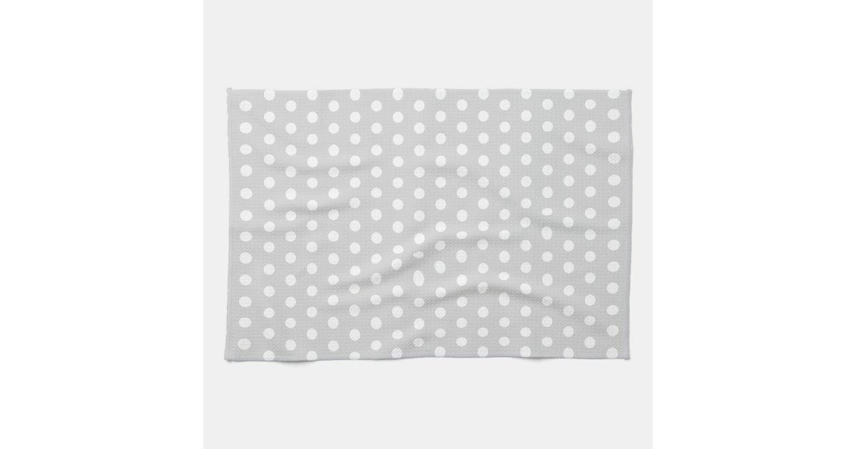 light gray and white polka dot pattern kitchen towel zazzle. Black Bedroom Furniture Sets. Home Design Ideas