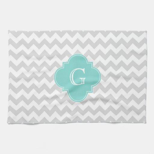 Black And White Chevron Hand Towels: Light Gray White Chevron Aqua Quatrefoil Monogram Towel