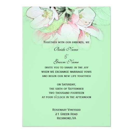 Apple Green Wedding Invitations: Light Pink Apple Flower In Green Wedding 5.5x7.5 Paper