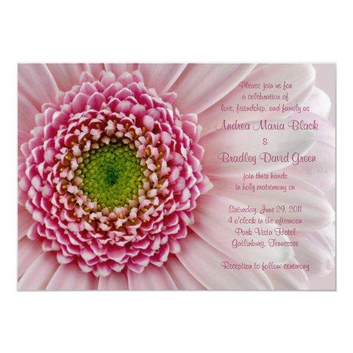 Gerbera Wedding Invitations: Light Pink Gerbera Wedding Invitation