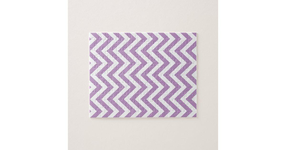 Light Purple and White Zigzag Pattern Puzzle | Zazzle