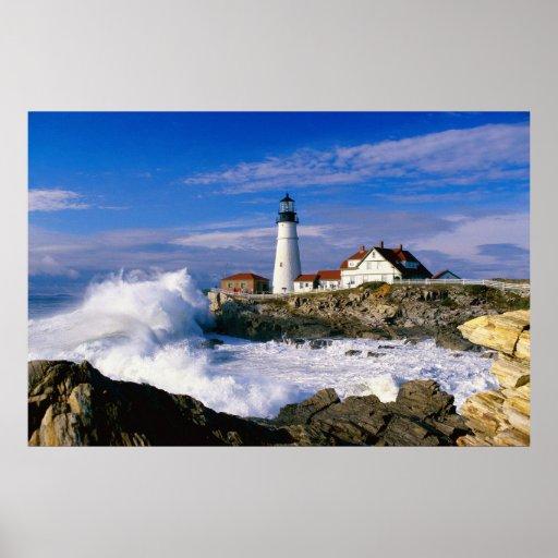 Lighthouse Crashing Waves Poster | Zazzle