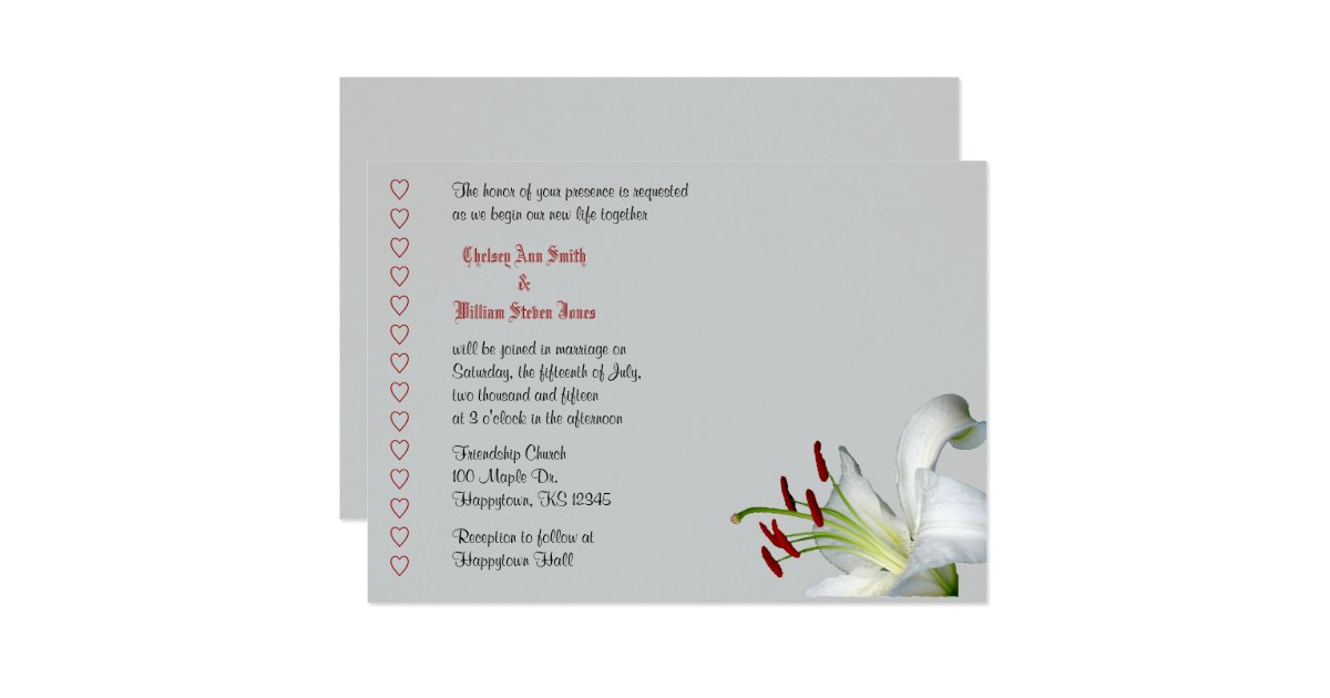 White And Red Wedding Invitations: Lily, White And Red Wedding Invitations