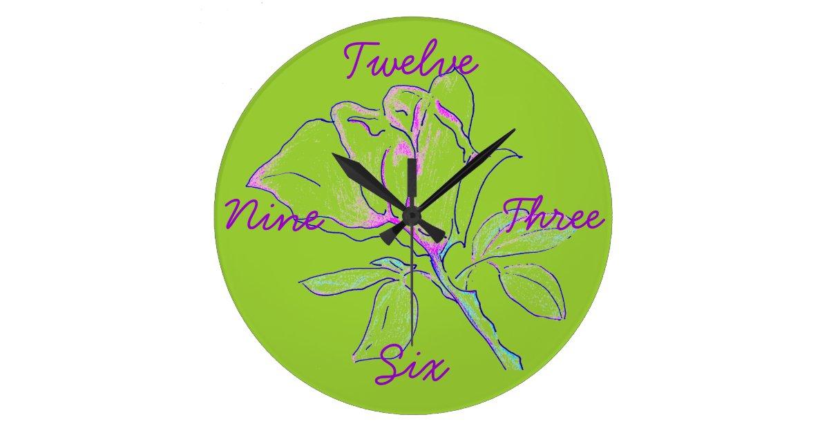 Lime Green Cursive Clock Zazzle