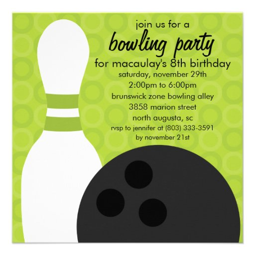 Lime Green Pin Pals Bowling Birthday Party Invites