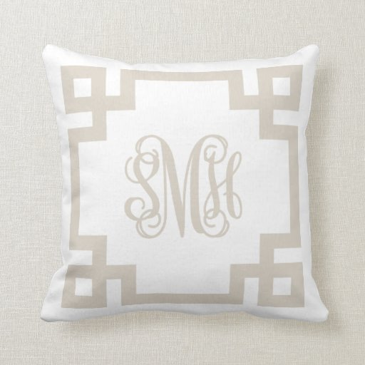 Linen Monogram Throw Pillow: Linen Beige And White Greek Key Script Monogram Throw