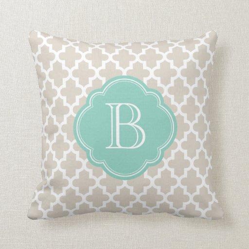 Linen Monogram Throw Pillow: Linen Beige & Aqua Modern Moroccan Custom Monogram Throw