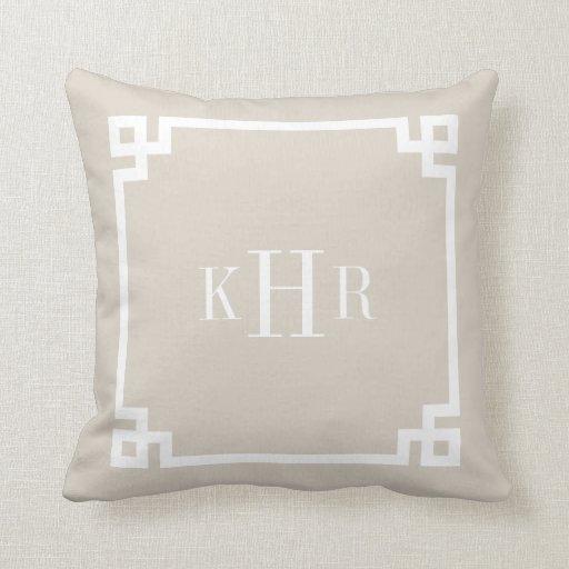 Linen Monogram Throw Pillow: Linen Beige Greek Key Border Custom Monogram Pillows